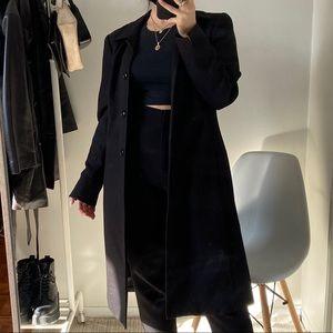 VINTAGE Black Longline Blazer Coat -Size 12